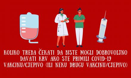 Darivanje krvi nakon vakcinacije (COVID-19 i druge vakcine)